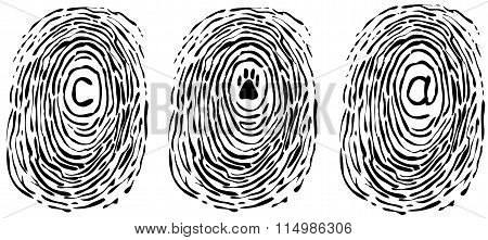 Finger print with symbols vector