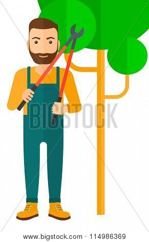 Farmer with pruner.