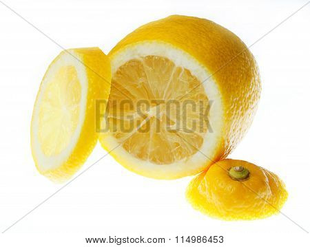 Lemon Slices On White