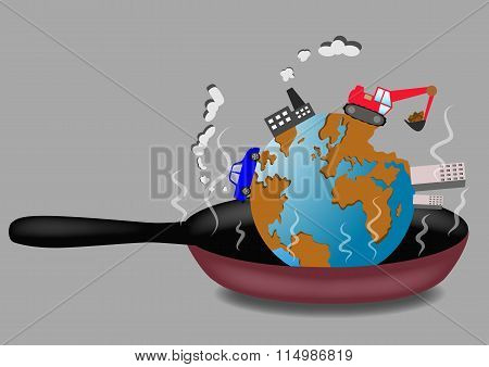 Planet Earth Roasting On Frying Pan Vector Illustration