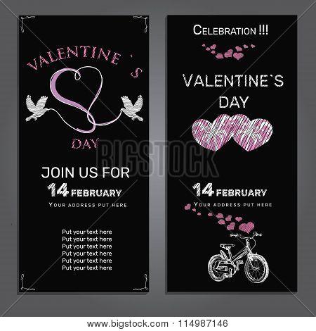 set invitation for Valentines day on chalk board background
