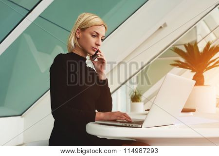 Successful woman phoning via cell telephone to her partner while sitting at the table with net-book