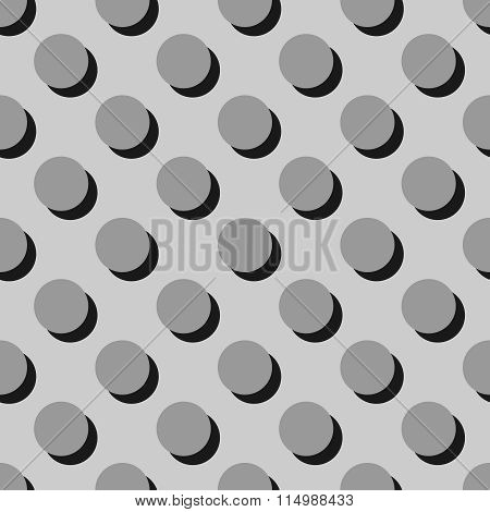Tile grey vector pattern with big polka dots with shadow