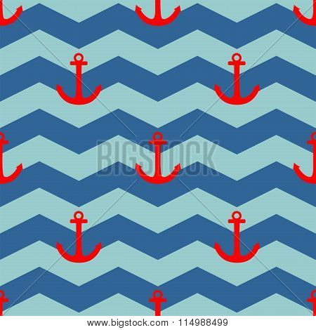 Tile sailor vector pattern with red anchor