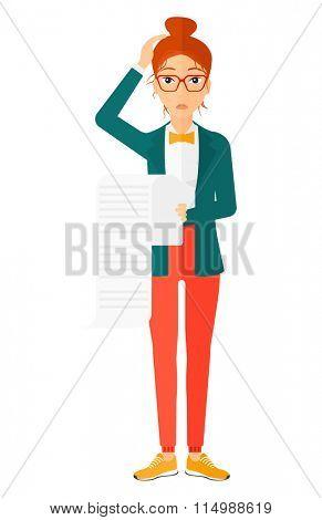 Woman holding long bill.