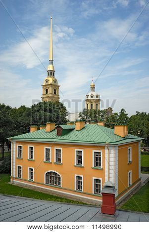 Guardhouse And Cathedral In Peter And Paul Fortress St. Petersburg