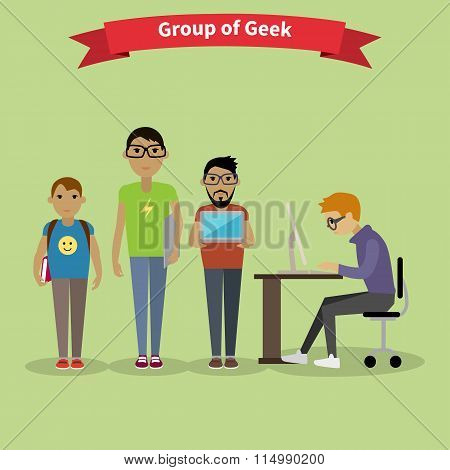 Geek Group Team People Flat Style