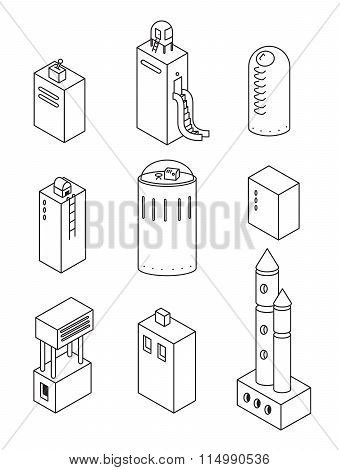 Houses Icons Set.vector Illustration Of A Isometric Buildings