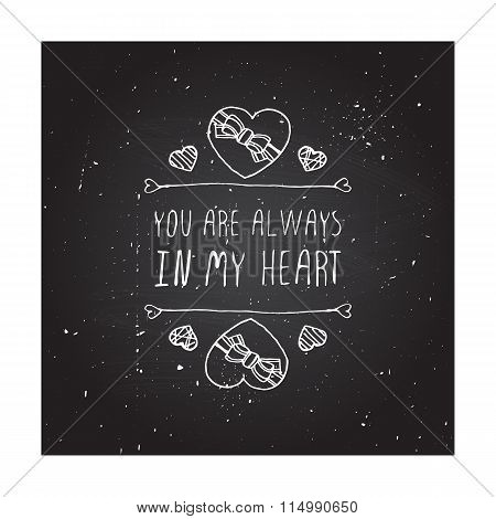 Vector handdrawn badge for Saint Valentines day
