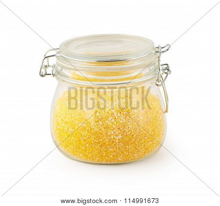 glass jar with maize grits