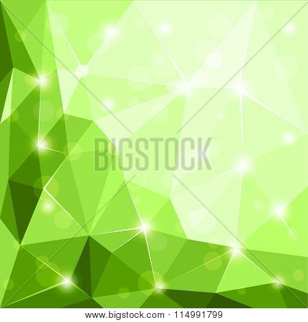 Abstract polygonal geometric facet shiny green background