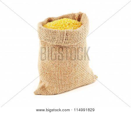 Burlap bag with maize grits