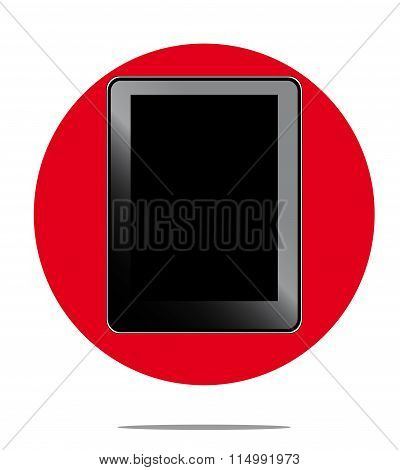 Illustration Of Black Computer Tablet With Red Circle Background