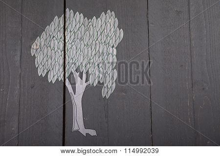 Illustration Of White Tree On Dark Black Wooden Background