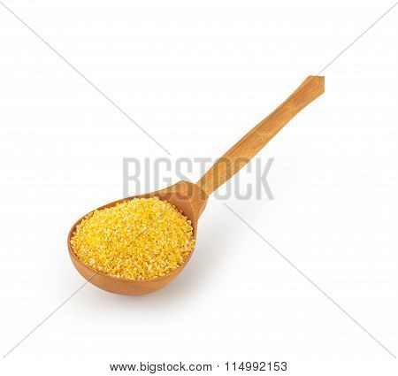 wooden spoon with maize grits