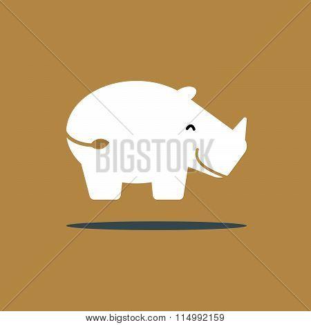 smiley white rhino icon flat style