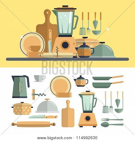 Kitchen cooking utensils icons isolated on white background. Flat design vector illustration.