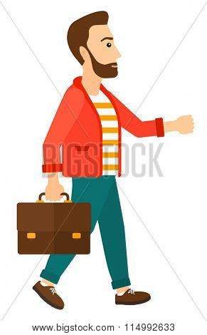 Businessman walking with briefcase.