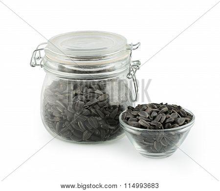 sunflower seeds in a glass jar