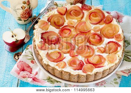 Apple Cake With Roses, Nuts And Cream