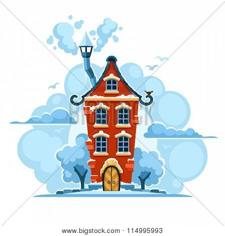 Winter fairy. Tale house in snow with clouds. Isolated on white background. Rasterized illustration