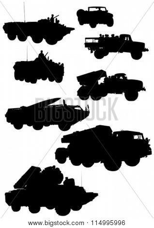 Armored cars with guns on white background
