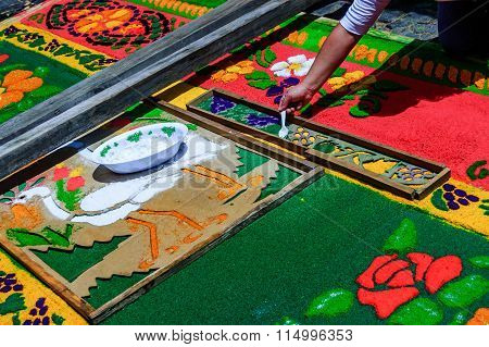Making Holy Week Carpet, Antigua, Guatemala