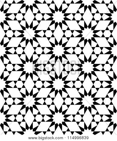 Vector modern seamless sacred geometry pattern stars black and white abstract