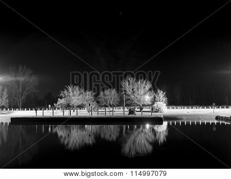 Boat Launch At Night