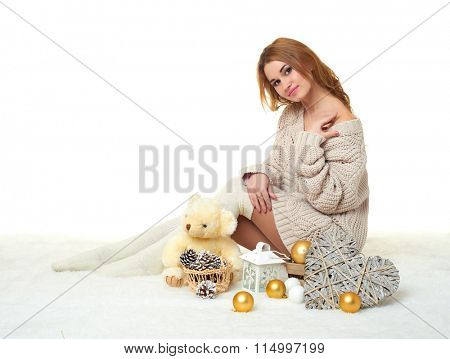 beautiful young girl with teddy bear toy - romantic holiday concept