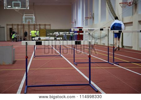 Barriers Over A Running Track
