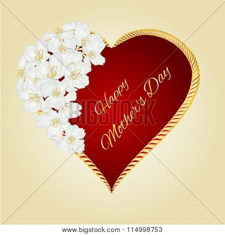 Happy Mother's Day Heart With Jasmine Vector