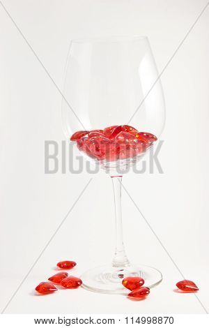 Scarlet Little Hearts In Transparent Glass Fougeres