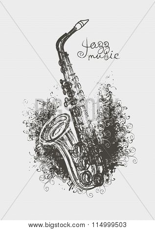 Drawing Of A Saxophone