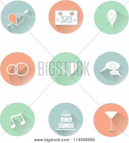Round wedding icons, thin white lines in pastel pink, blue, green, cool colors, shadow