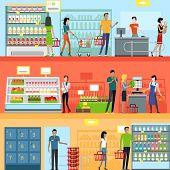 People in Supermarket Interior Design poster