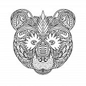 Постер, плакат: Black And White Ornament Faces Wild Beast Of The Forest Bear Ornamental Lace Design Page For Adult