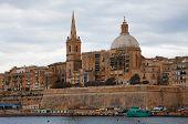 stock photo of olden days  - View of Valletta from Marsamxett Harbour - JPG