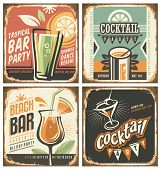Постер, плакат: Cocktail bar retro tin sign set