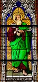 foto of koln  - Church window in the Dom of Cologne Germany depicting the prophet Ezekiel - JPG
