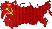 Постер, плакат: Soviet Union Map With Flag Inside eps