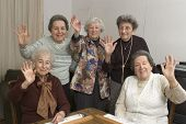 stock photo of senior-citizen  - group of happy senior women playing mah - JPG