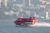 stock photo of hydrofoil  - Modern high speed ferry boat going to Hong Kong - JPG