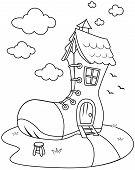 stock photo of nursery rhyme  - Line Art Illustration of House SHaped Like a Giant Shoe - JPG
