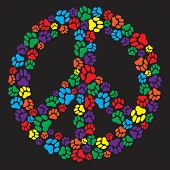image of peace-sign  - Peace sign made of dog paw prints - JPG