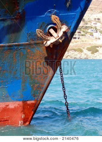 Detail Of Old Rusty Cargo Ship - Andros, Greece
