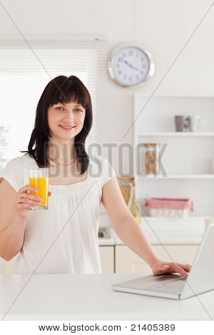 Cute Brunette Woman Holding A Glass Of Orange Juice While Relaxing With Her Laptop