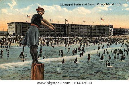 BROOKLYN, NEW YORK - CIRCA 1912: Vintage postcard depicting The Municipal Baths and Beach on Coney Island, Brooklyn, New York, USA, circa 1912.