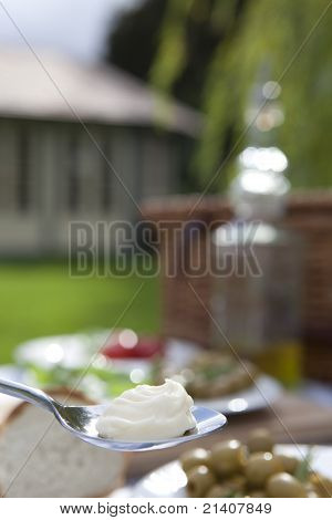 Mayonaise on a spoon