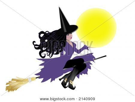 Purple Witch Holding The Moon
